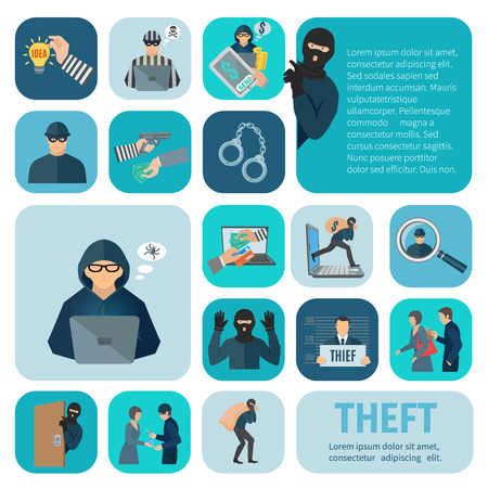bank robber: Stealing and theft icons set with robbery and pickpocket flat isolated vector illustration Illustration