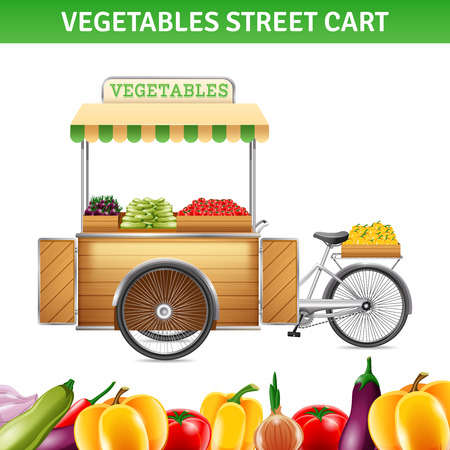 beetroot: Vegetables street cart with tomatoes beetroot and peppers realistic vector illustration