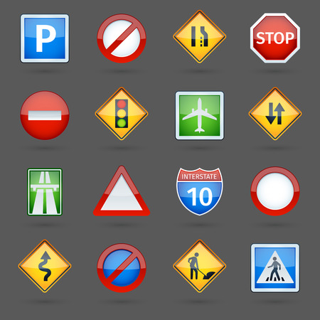 Basic road traffic regulatory signs symbols collection glossy pictograms collection for website poster abstract vector isolated illustration