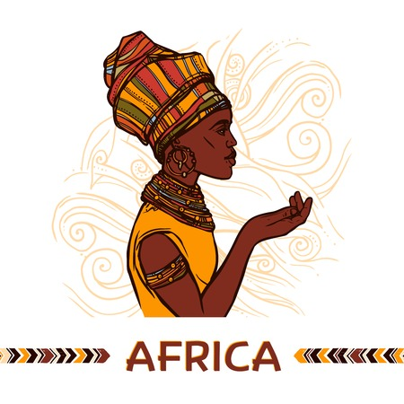 ethnographic: African woman sketch profile portrait on abstract ornamental background vector illustration Illustration