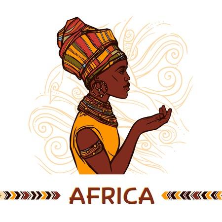 negras africanas: Retrato africano perfil de boceto mujer en abstracto ornamental de fondo ilustración vectorial Vectores