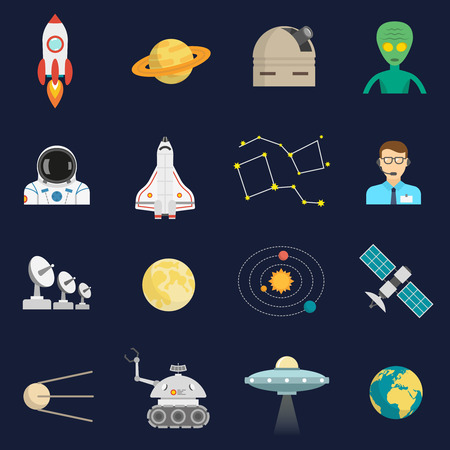space station: Space universe symbols flat icons set with cosmonaut satellite spacecraft and alien visitor abstract isolated vector illustration