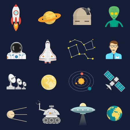universum: Space-Universum Symbole flache Ikonen mit Kosmonaut Raumfahrzeugen und Satelliten-Alien-Besucher abstrakten isolierten Vektor-Illustration festgelegt Illustration