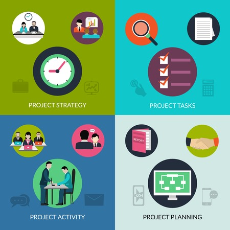 projects: Project management design concept set with activity planning icons isolated vector illustration