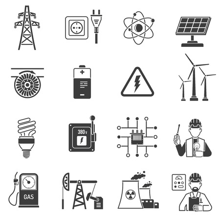 power industry: Oil and gas industry energy power production and transmitting symbols black icons set abstract vector isolated  illustration