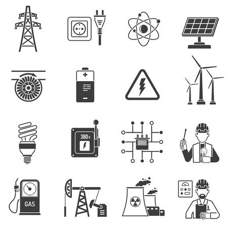 Olie- en gasindustrie energie-opwekking van elektriciteit en doorgeven symbolen zwarte pictogrammen set geïsoleerd abstracte illustratie