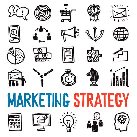 network marketing: Iconos de marketing elaborado una estrategia de mano fijados con s�mbolos de negocios aislados ilustraci�n vectorial
