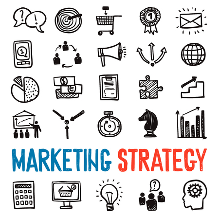 strategy decisions: Marketing strategy hand drawn icons set with business symbols isolated vector illustration