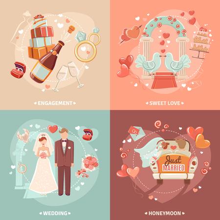 recien casados: El matrimonio y el compromiso del partido invitaci�n nupcial de 4 iconos planos plantilla de tarjeta de composici�n cuadrado abstracto aislado ilustraci�n vectorial