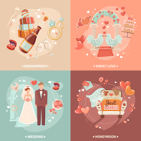 just married: Marriage and engagement bridal party invitation 4 flat icons square  composition card template abstract isolated vector illustration