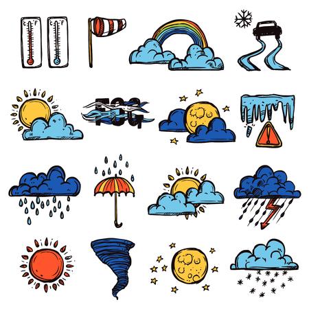 meteo: Simboli di previsione del tempo decorativi colorati a mano disegnati icone impostare isolato illustrazione vettoriale Vettoriali