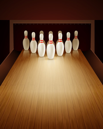 bowling strike: Bowling game with bowling lane ten pins and ball realistic vector illustration