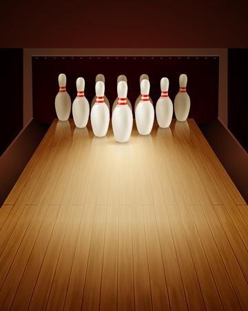 Bowling-Spiel mit Bowlingbahn zehn Pins und Ball realistische Vektor-Illustration