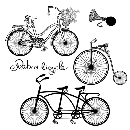 tandem bicycle: Retro style mono and tandem bicycles hand drawn set isolated vector illustration