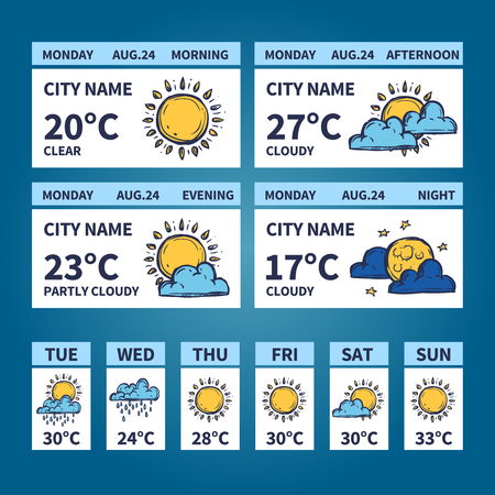 widget: Weather forecast widget with sketch sun and clouds symbols vector illustration Illustration