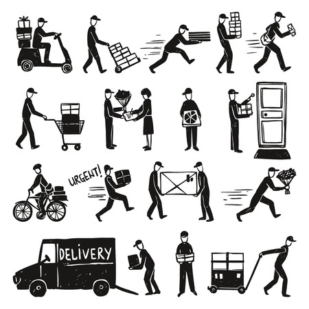 Delivery doodle set with postman and courier silhouettes isolated vector illustration Vetores