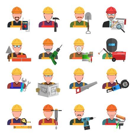 Arbeider en ingenieur avatars vlakke pictogrammen set geïsoleerde vector illustratie