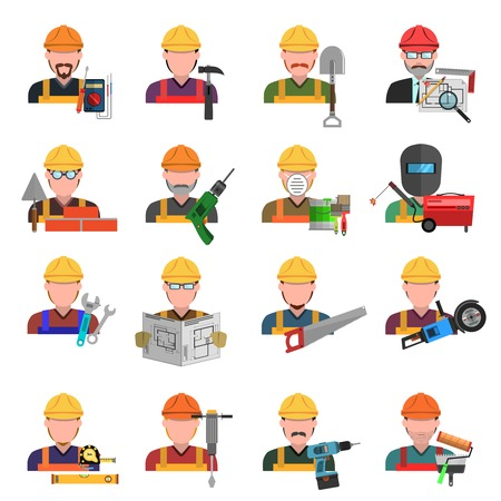 Worker and engineer avatars flat icons set isolated vector illustration