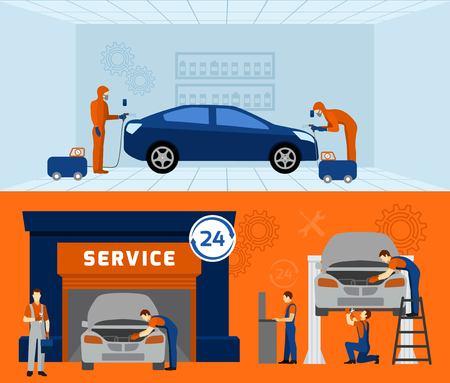 mecanico: Mecánico auto del garage de servicio 2 banderas planas establecen con el mantenimiento de coches y aislado actualización vector resumen ilustración