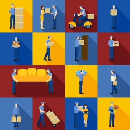 cartero: Iconos de flete de entrega y de trabajadores hombre logísticos conjunto aislado ilustración vectorial