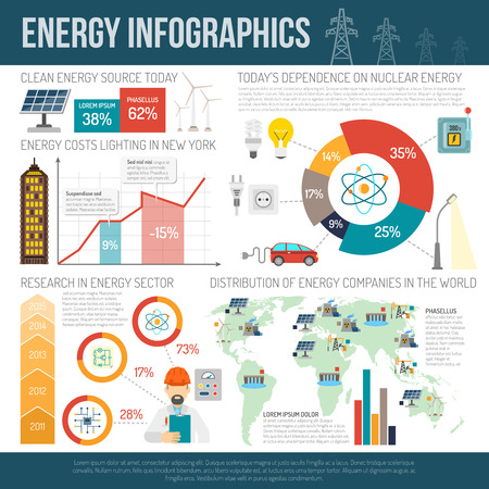 energy distribution: Clean energy production and worldwide distribution innovative technologies infographic report presentation layout poster abstract vector illustration
