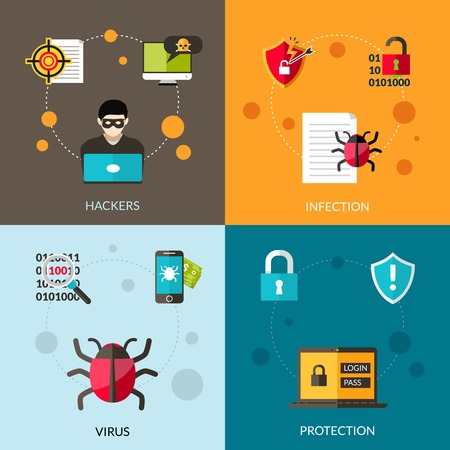 virus: Cyber virus design concept set with hacker attack protection icons set isolated vector illustration Illustration