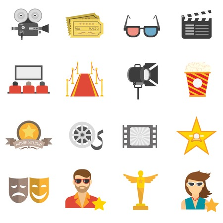 clapperboard: Movie icons flat set with film camera 3d glasses and clapperboard isolated vector illustration Vectores