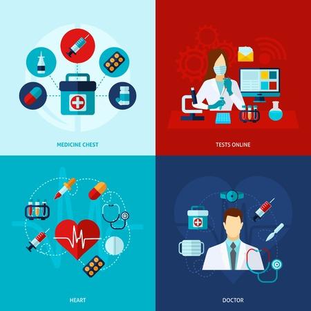 Medical Design-Konzept mit Medizin und Arzt flachen Icons isoliert Vektor-Illustration festgelegt