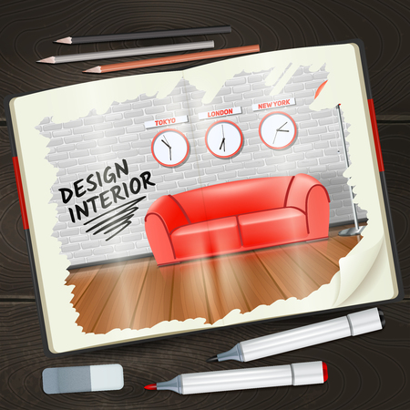 modern interieur: Modern interior design sketchbook with pencils highlighters and rubber realistic vector illustration Stock Illustratie