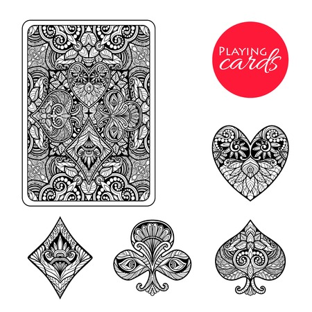 cards poker: Decorative playing card suits set with hand drawn ornament isolated vector illustration