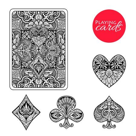 Dekoratív játékkártya öltöny készlet kézzel rajzolt dísz elszigetelt, vektor, Ábra