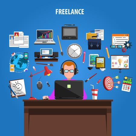 Freelance Möglichkeiten für kreative Arbeitsplätze Konzept Piktogramme Zusammensetzung Plakat mit Mitarbeiter bei der Arbeit abstrakte Vektor-Illustration Standard-Bild - 45351841