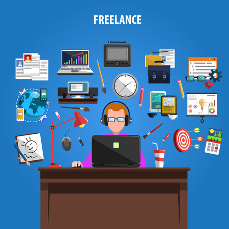 Freelance opportunities for creative jobs concept pictograms composition poster with staff member at work abstract vector illustration Çizim