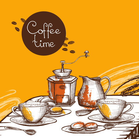milk and cookies: Coffee time with cup of coffee with milk cream and cookies background composition poster abstract  vector illustration