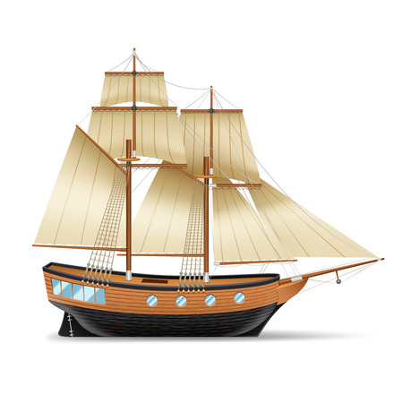 topsail: Wooden sailing ship with two masts square and gaff sails realistic vector illustration