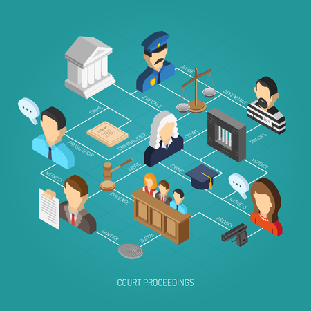 lawyer court: Law isometric concept with 3d attorney scales and gavel icons set vector illustration