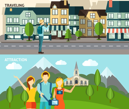 family holiday: Urban tourists attractions and historical sightseeing country travelling two flat  horizontal banners set abstract isolated vector illustration