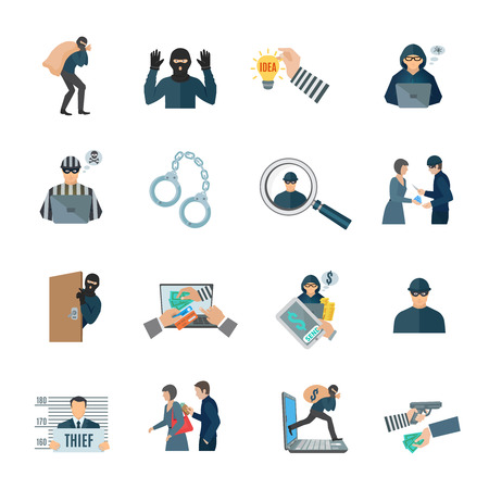 pickpocket: Theft and thief icons set with laptop handcuffs and prison flat isolated vector illustration