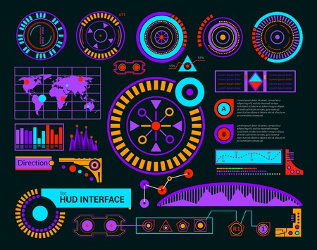 touch screen interface: Hud interface modern interface template on black background vector illustration
