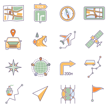 travel phone: Map icons line set with route search and navigation symbols isolated vector illustration