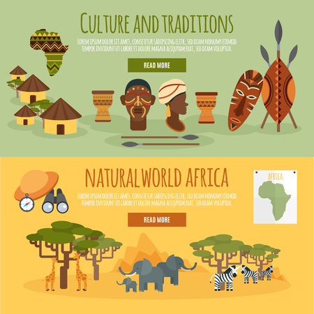 african culture: African nature culture and traditions interactive site webpage 2 flat horizontal banners design abstract isolated vector illustration