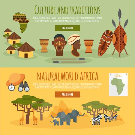 Naturaleza cultura africana y tradiciones sitio interactivo del Web page 2 banners horizontales planas diseño abstracto ilustración vectorial aislado Ilustración de vector