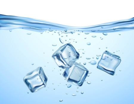 liquid reflect: Realistic blue ice cubes floating in transparent water vector illustration Illustration