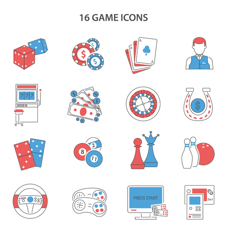 gambling game: Game and gambling line icons set with slot machine cards and video flat isolated vector illustration