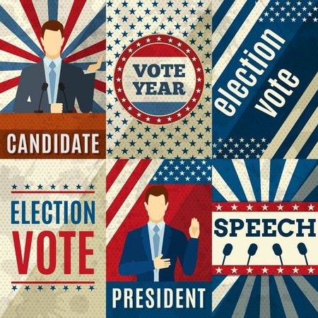 candidates: Vintage politics mini posters set with election candidates figures isolated vector illustration