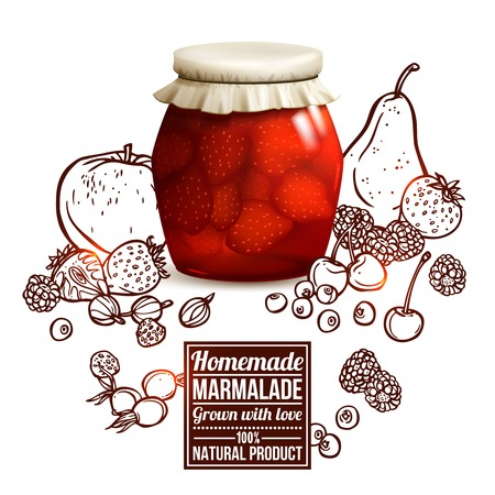Marmalade jar concept with realistic glass jar and sketch fruits and berries on background vector illustration Illustration