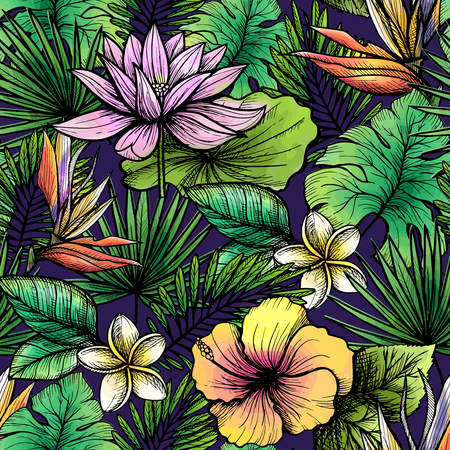 frond: Tropical seamless pattern with hand drawn leaves and flowers vector illustration