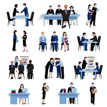 Selección de personal de recursos humanos que entrevista la composición de los iconos planos de la estrategia de reclutamiento y capacitación establece la ilustración abstracta aislada del vector