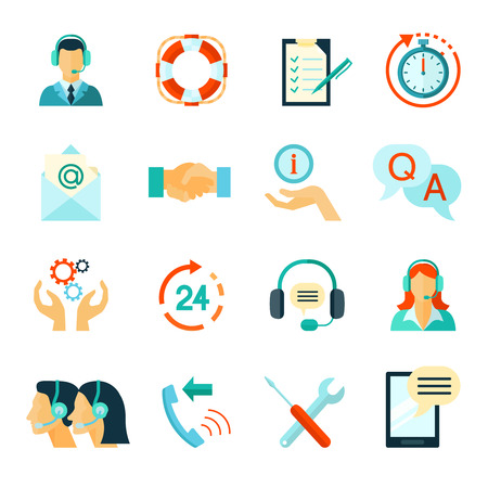 technical assistant: Flat style color icons collection of fast customer support and technical assistance isolated vector illustration