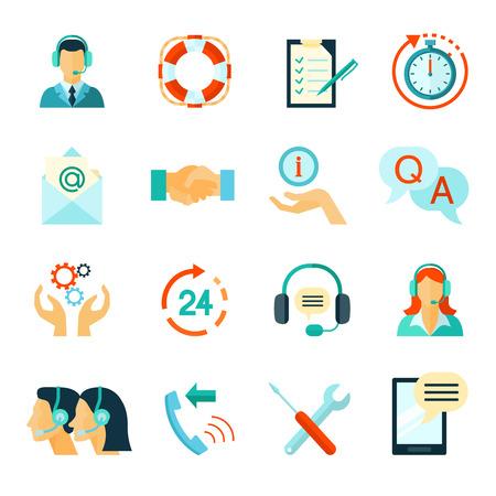 Vlakke stijl kleuren iconen verzameling van snelle klantenservice en technische bijstand geïsoleerd vector illustratie